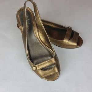 Cole Haan Nike Air Gold Open Toe Slingback Wedge 5